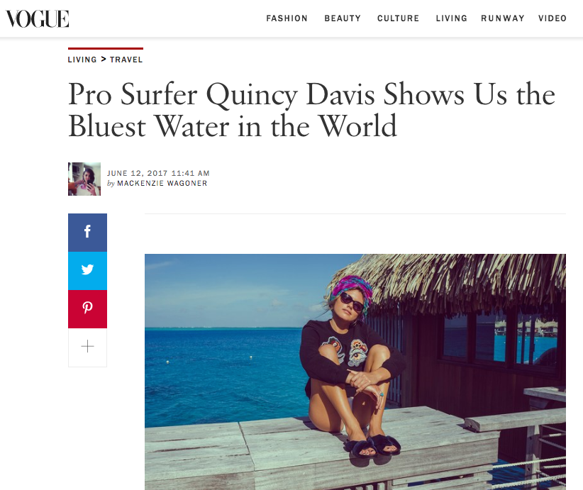 VOGUE: Pro Surfer Quincy Davis Shows Us the Bluest Water in the World